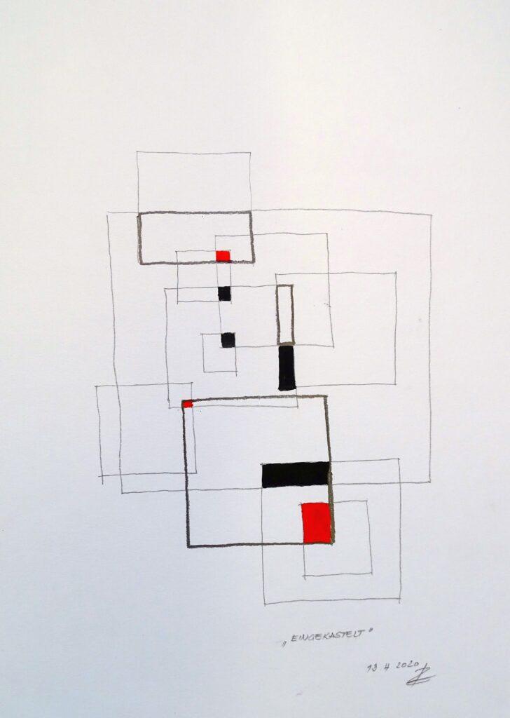 Eingekastelt, Bleistift/Öl, Papier, 30x40; 2020
