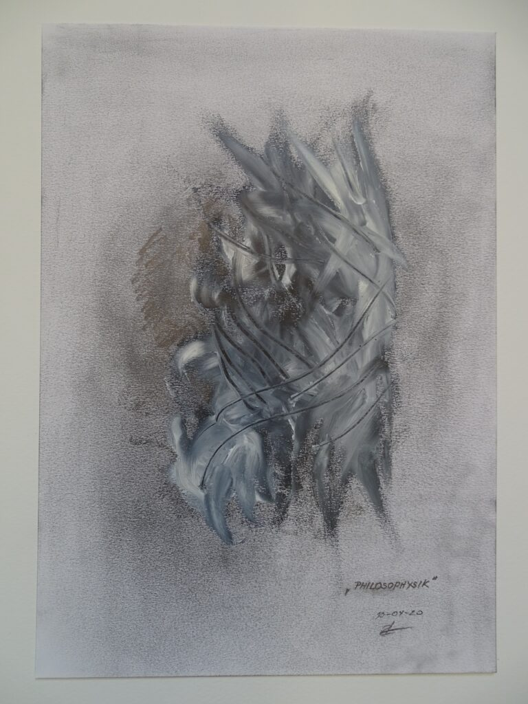 """PHILOSOPHYSIK"", Bleistift/Öl, Papier, 30x40; 2020"
