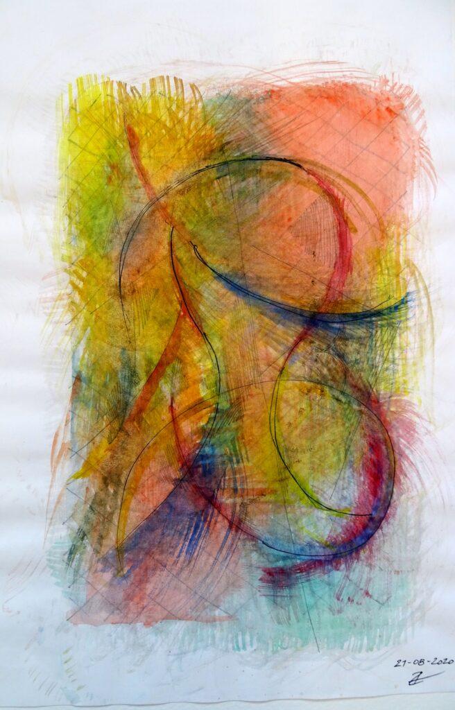 ohne Titel, Bleistift/Aquarell, Papier, 30x40; 2020