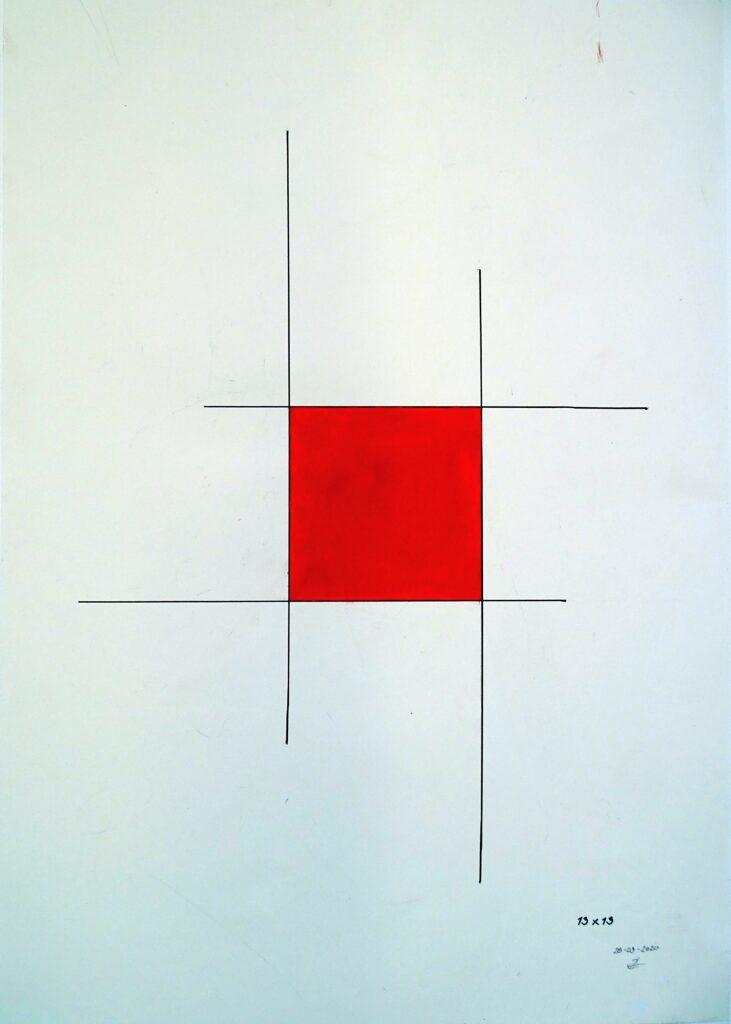 13x13, Tusche/Öl, Papier, 80x70; 2020