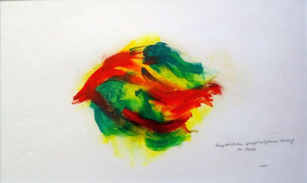 Rumpelstilzchen springt mit grünem Umhang ins Feuer, Öl, Papier, 60x40