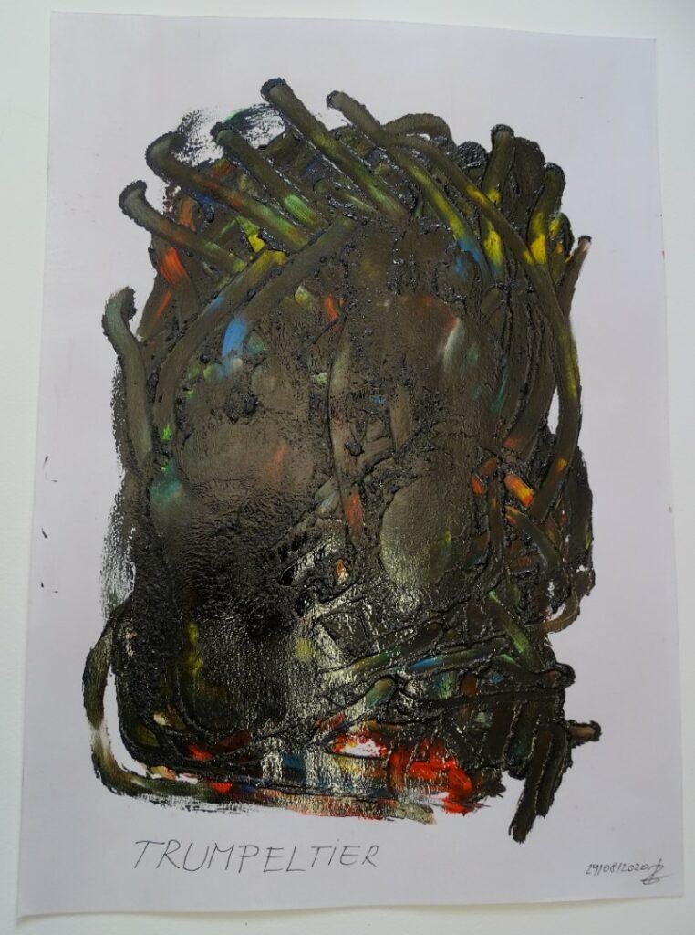 Trumpeltier, Öl, Karton, 42x58; 2020