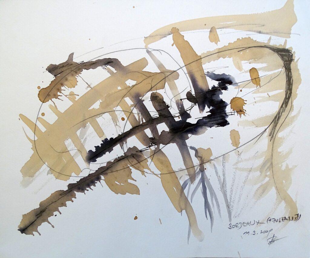 Bordeaux, Bordeaux, Bleistift, Papier 42x30 cm