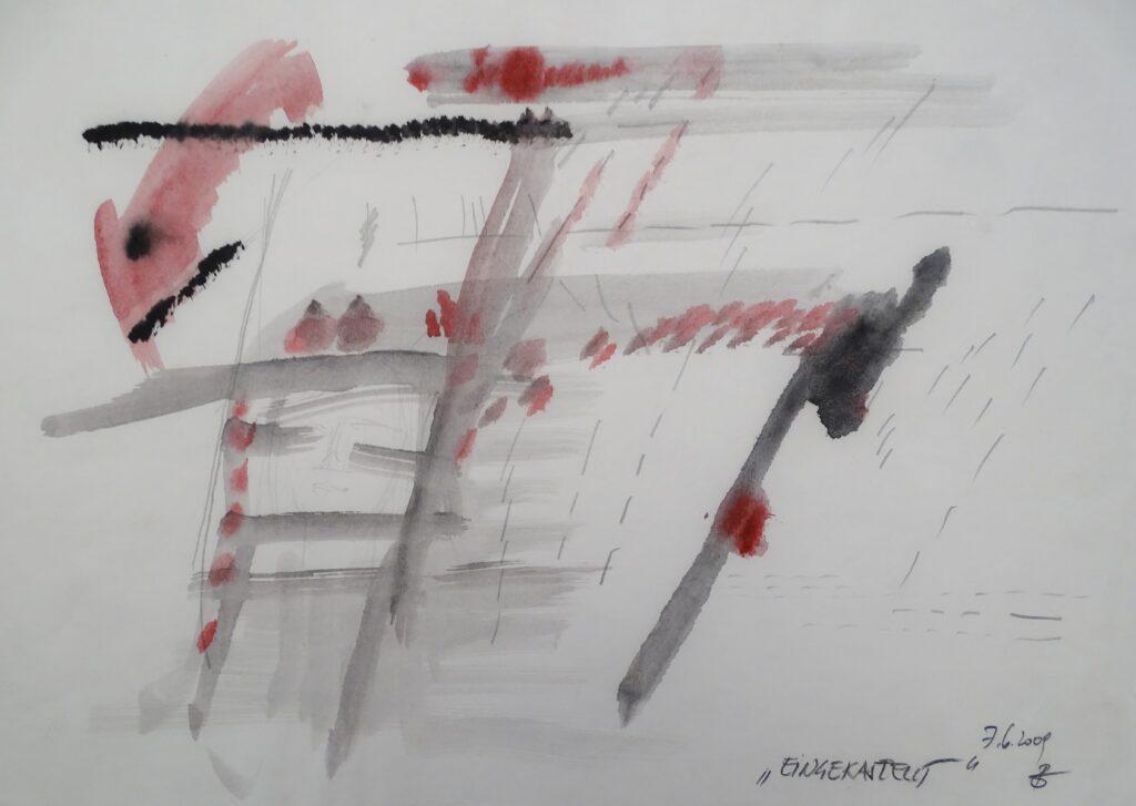 Eingekastelt, Aquarell, Bleistift, Papier, 42x29 cm, 2009