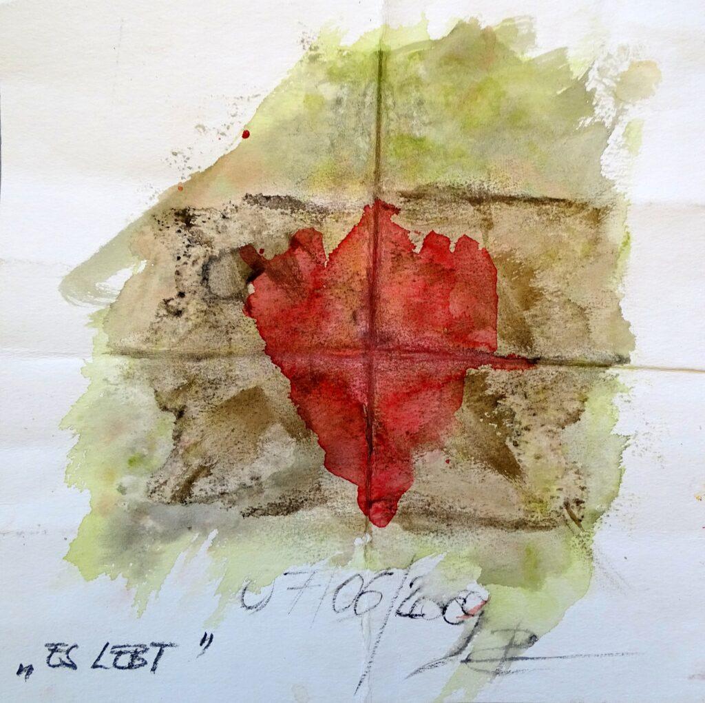 Es Lebt, Aquarell, Bleistift, Papier, 25x25 cm, 2009