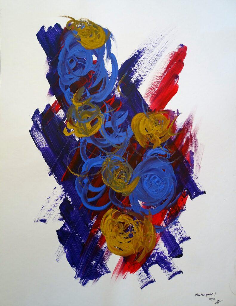 Farbenspiel, Acryl, Karton, 50x65 cm, 2009