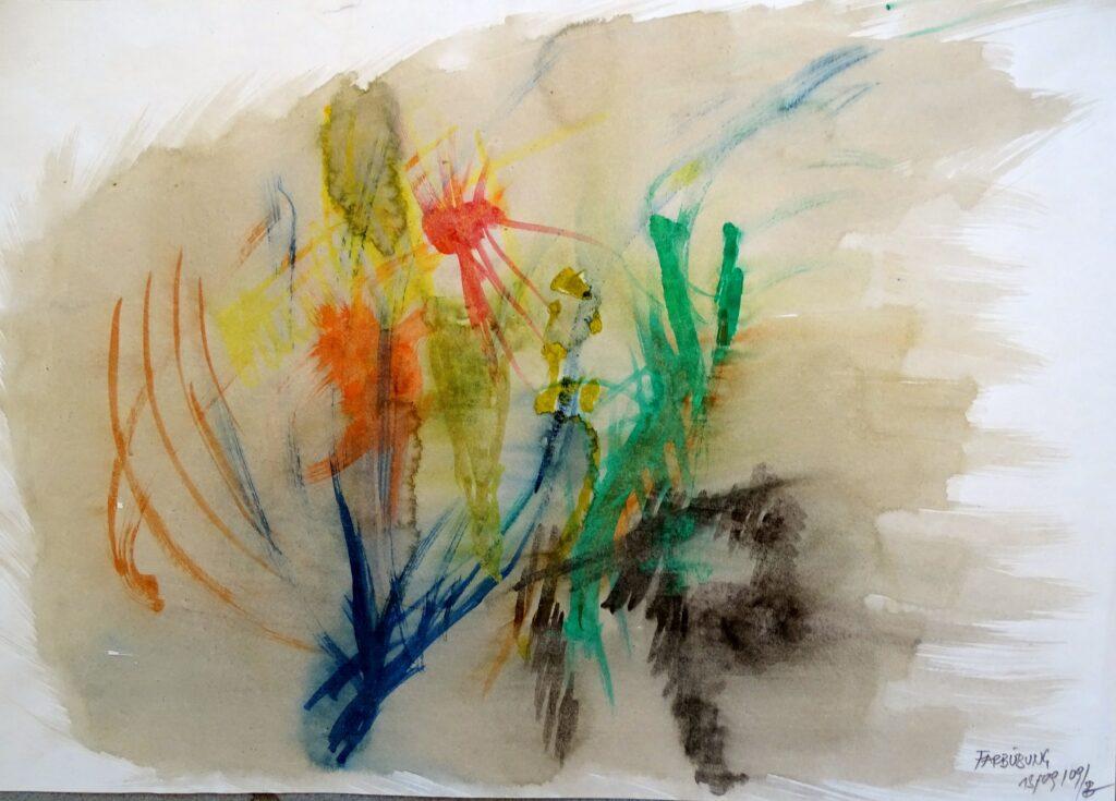 Farbübung, Acryl, Papier, 42x30 cm, 2009