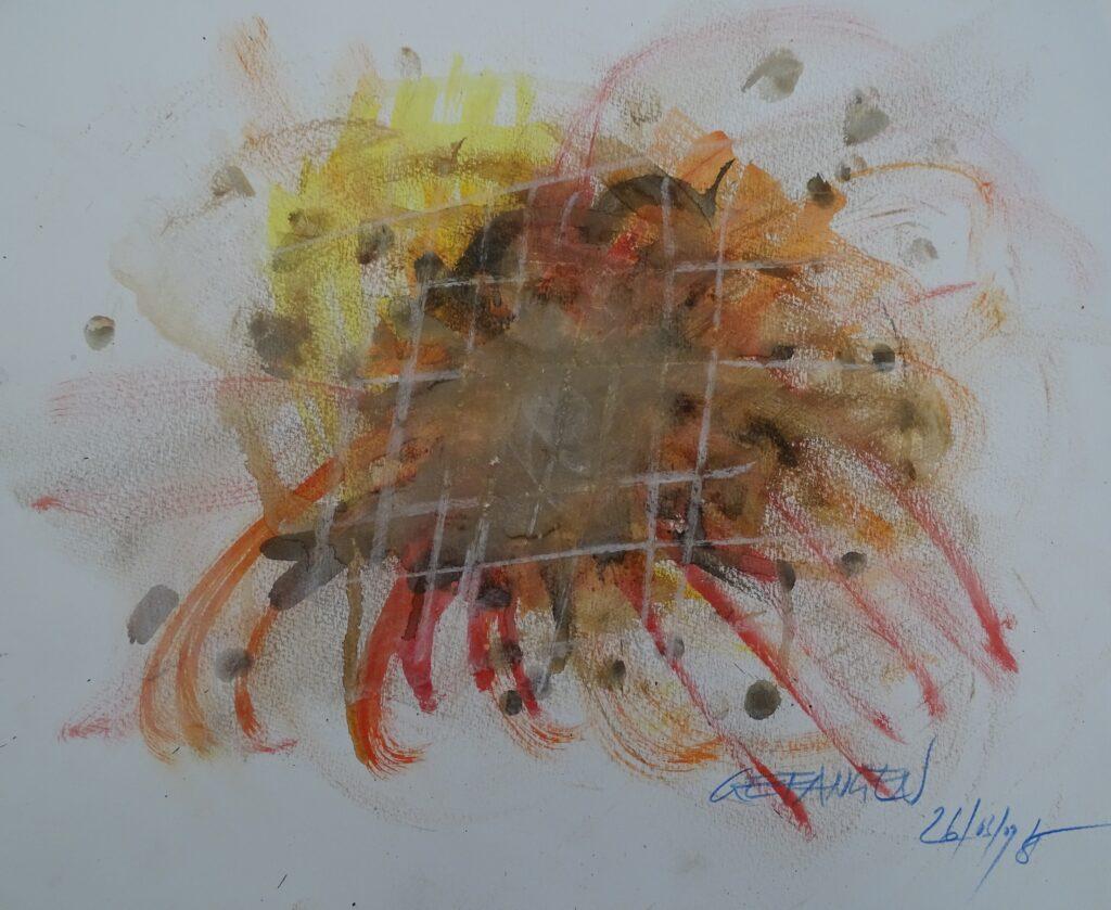 Gefangen, Aquarell, Papier, 40x32 cm, 2009