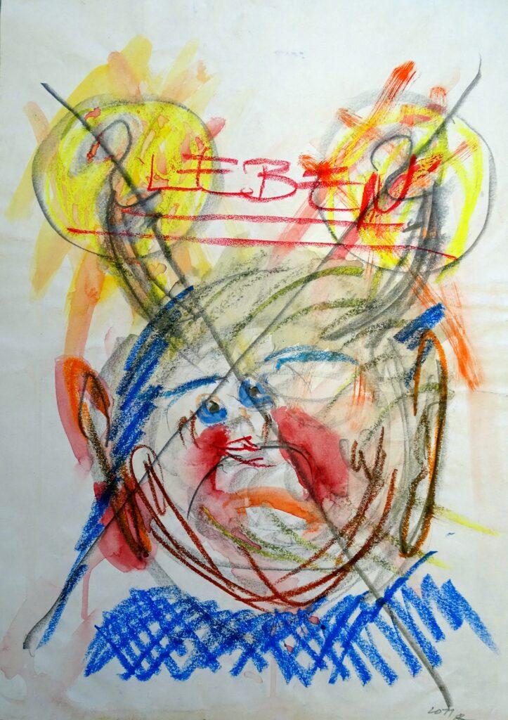 Leben, Papier, Mischtechnik,40x60 cm, 2011