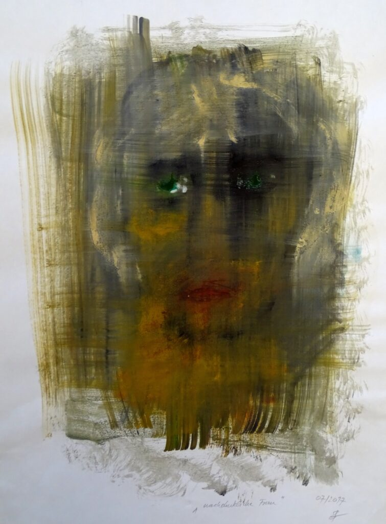 Nachdenkliche Frau, Öl, Papier, 35x47 cm, 2017