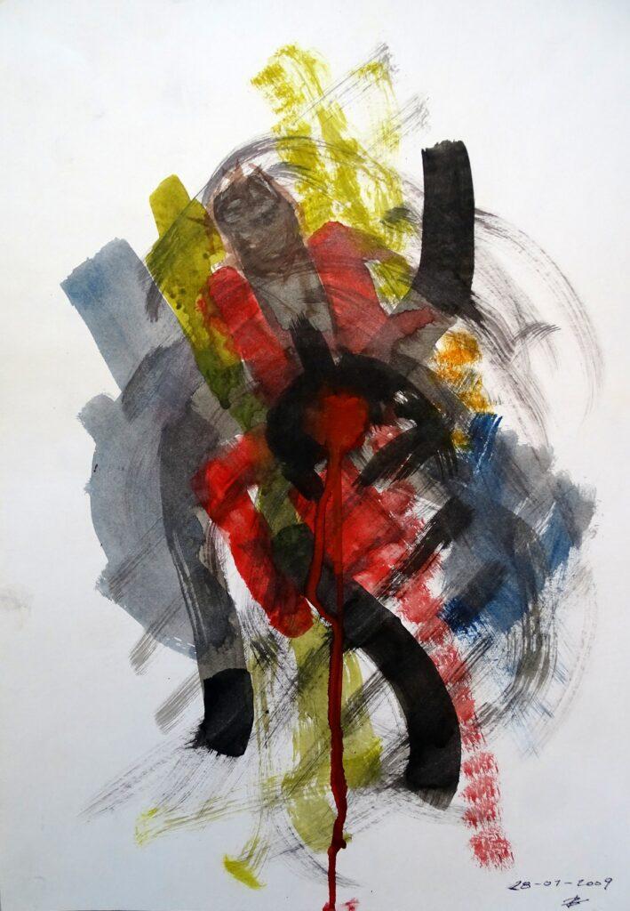 Ohne Titel, Acryl, Karton, 30x42 cm, 2009