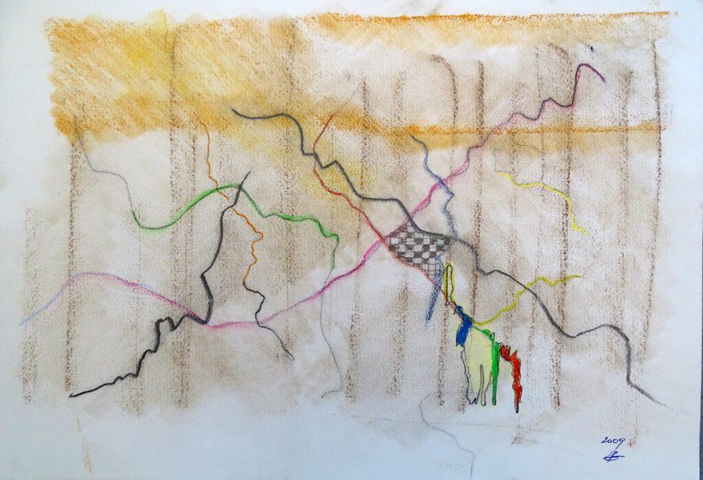 Ohne Titel, Kohle, Farbstift, 42x30 cm, 2009