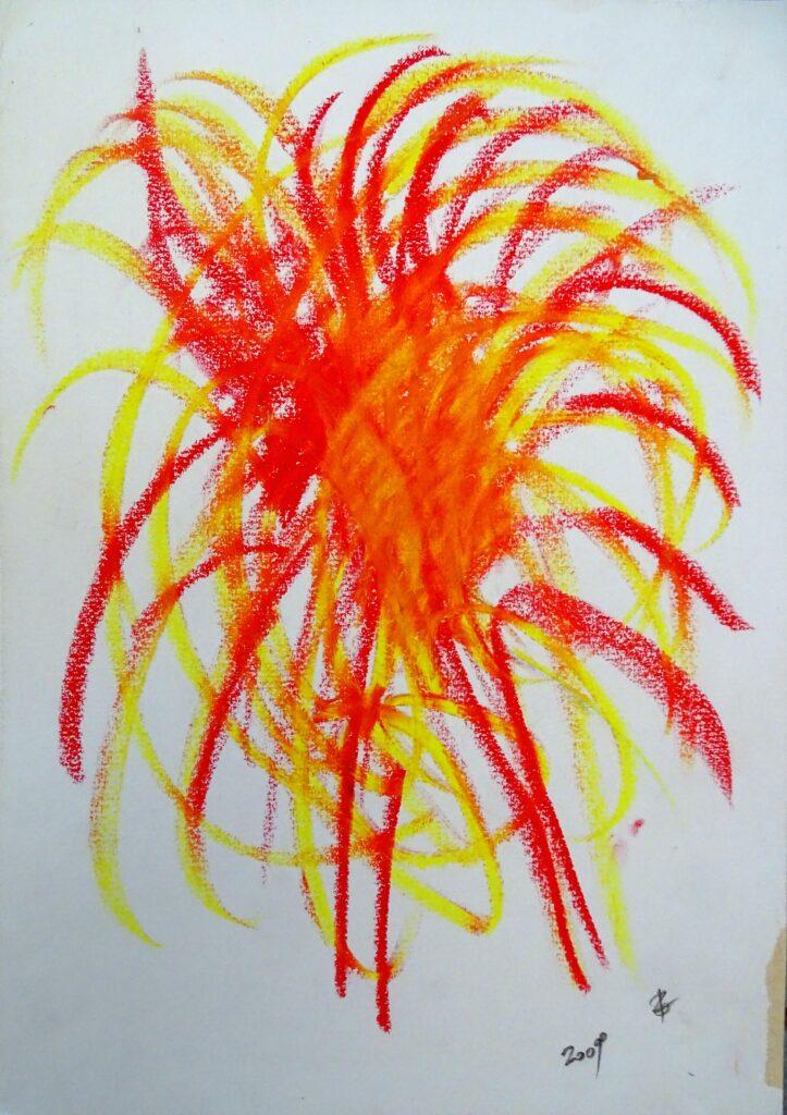Ohne Titel, Ölkreide, Papier, 30x42 cm, 2009