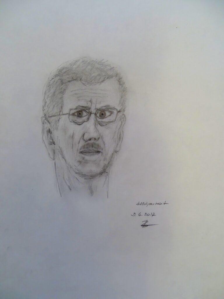 Selbstportrait-1, Bleistift, Papier, 34x47 cm, 2017