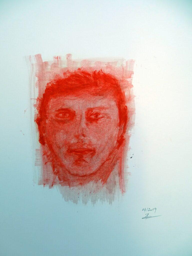 Selbstportrait, Acryl, Karton, 40x60 cm, 2019