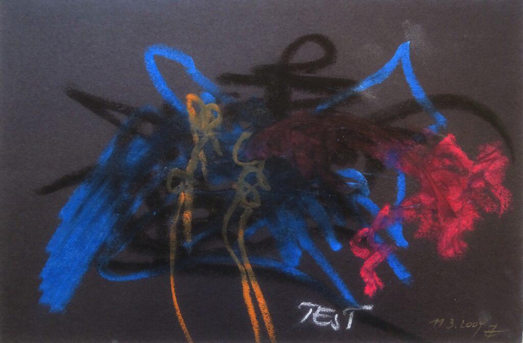 Test, Ölkreide, Karton, 30x20 cm, 2009